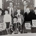 photograph of Gavin Drummond and Dennis Groark with finalists for the Glaxo Trophy.