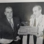 Photograph of William Scobbie receiving the scroll of the Freedom of the Burgh from Lord Provost William Ferguson