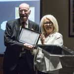 Fred Guy receiving honorary membership from CILIPS President Liz McGettigan