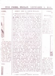 Obituary for George B Smith from The Press 1 November 1918