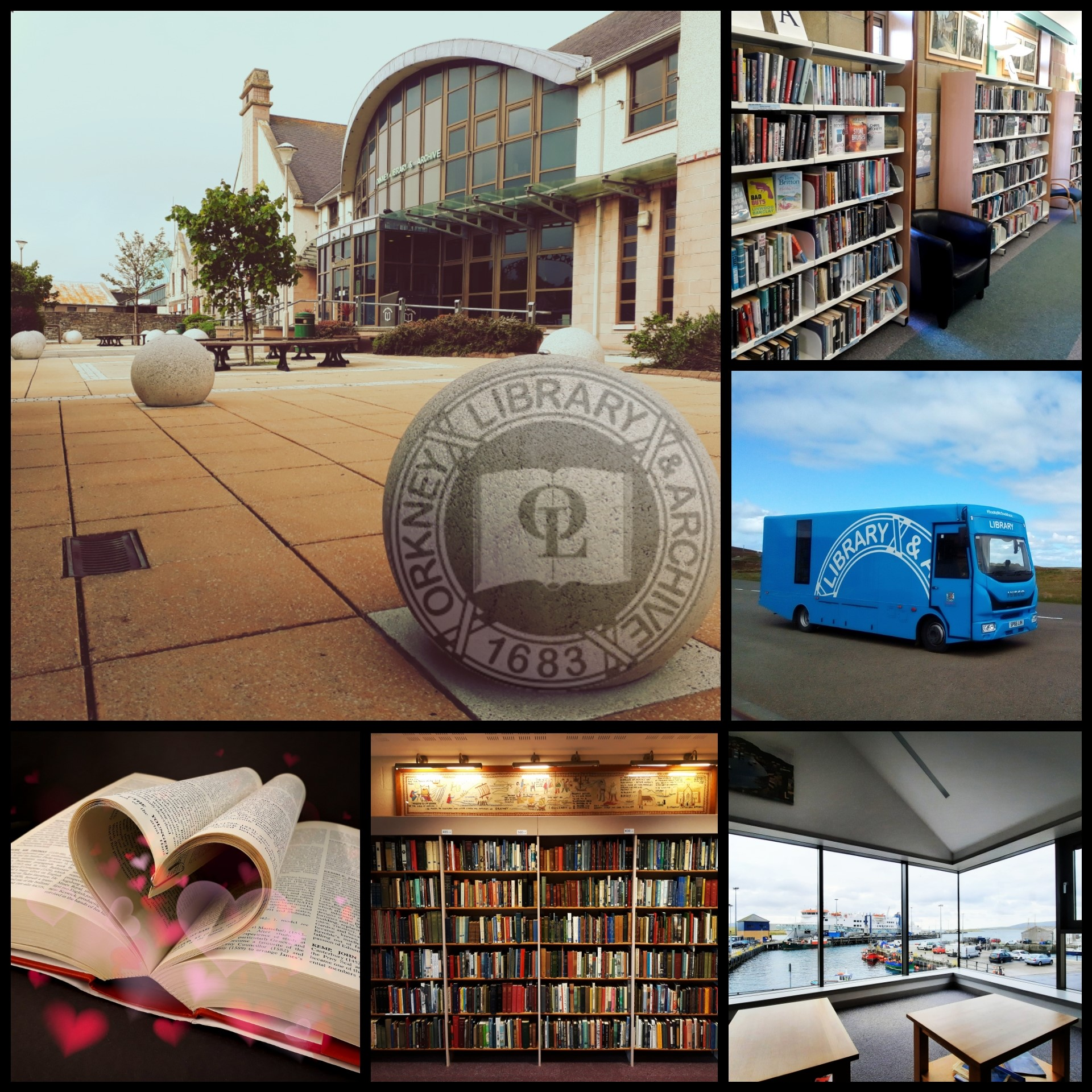 a composite image combining pictures of Orkney library, its bookshelves, its mobile library and a book with pages shaped like a heart.