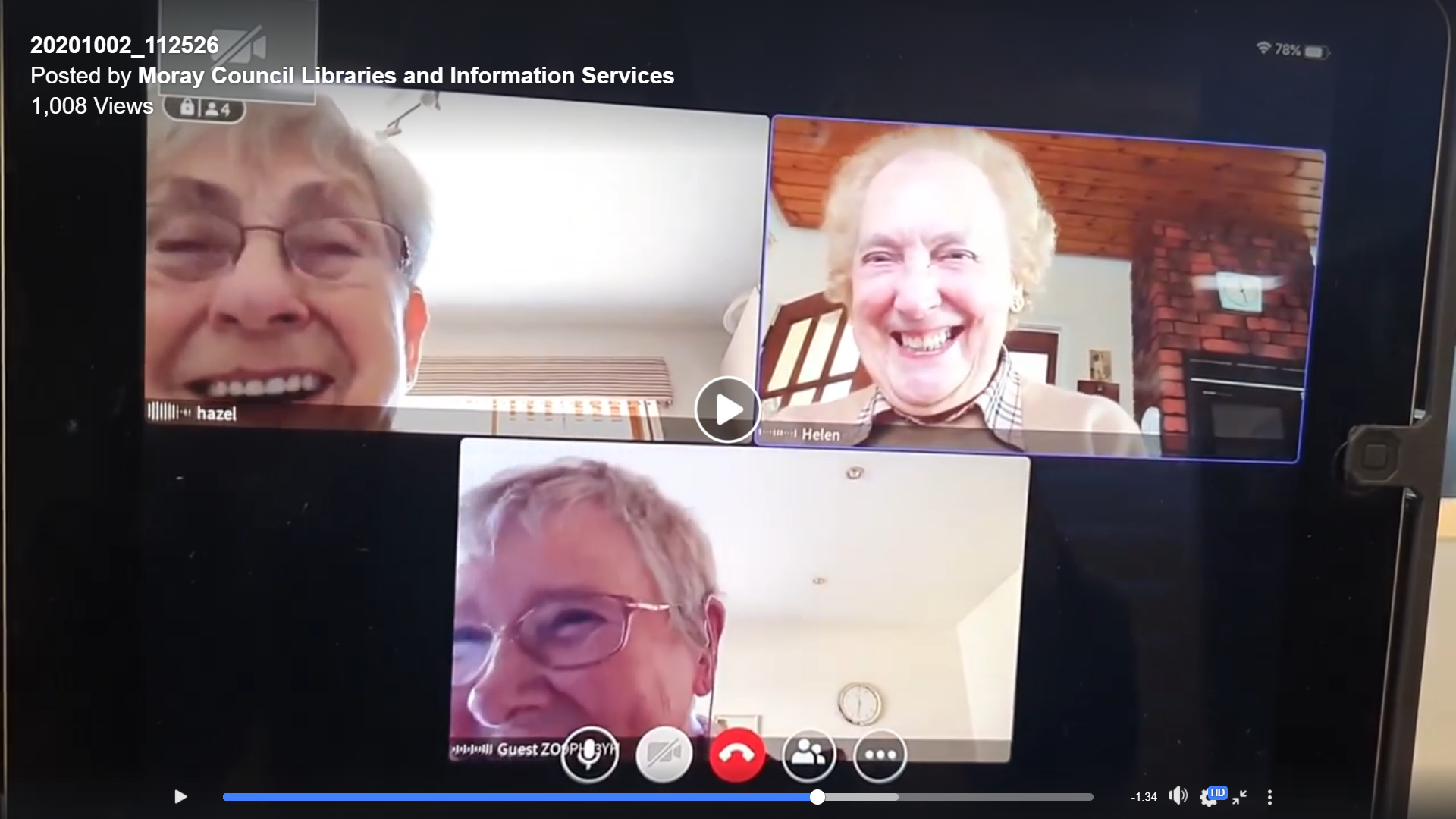 three women smiling in a video call