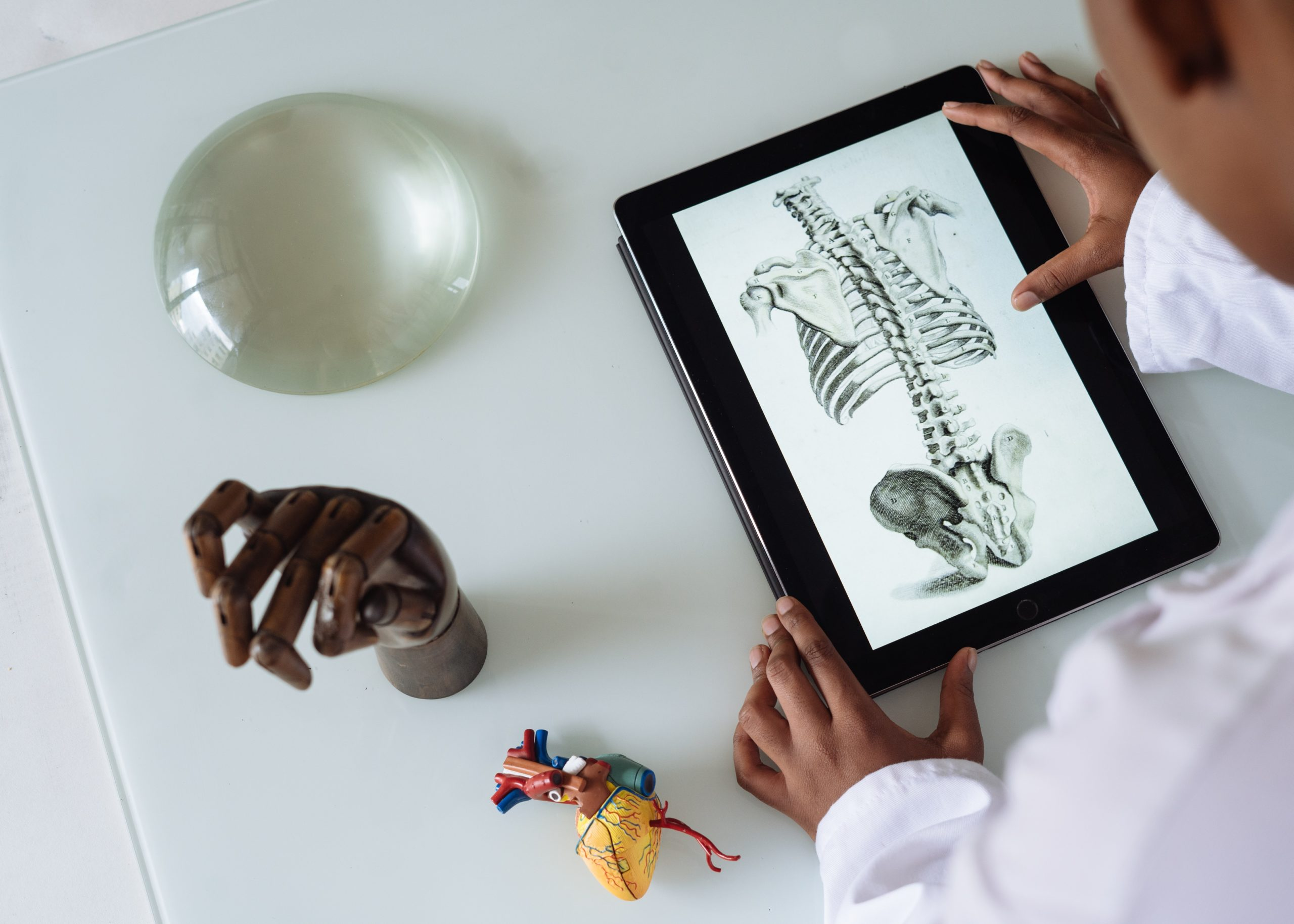 A person's hands holding a tablet showing a medical illustration of a skeleton beside a model hand