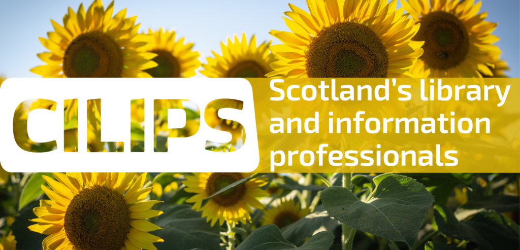 The CILIPS logo with a background photograph of sunflowers