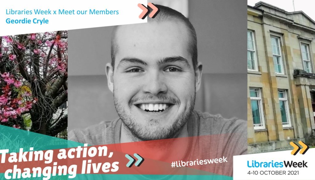 The Libraries Week graphic with 'Taking action, changing lives' in front of a photograph of Geordie Cryle and a library building background with a pink blossom tree