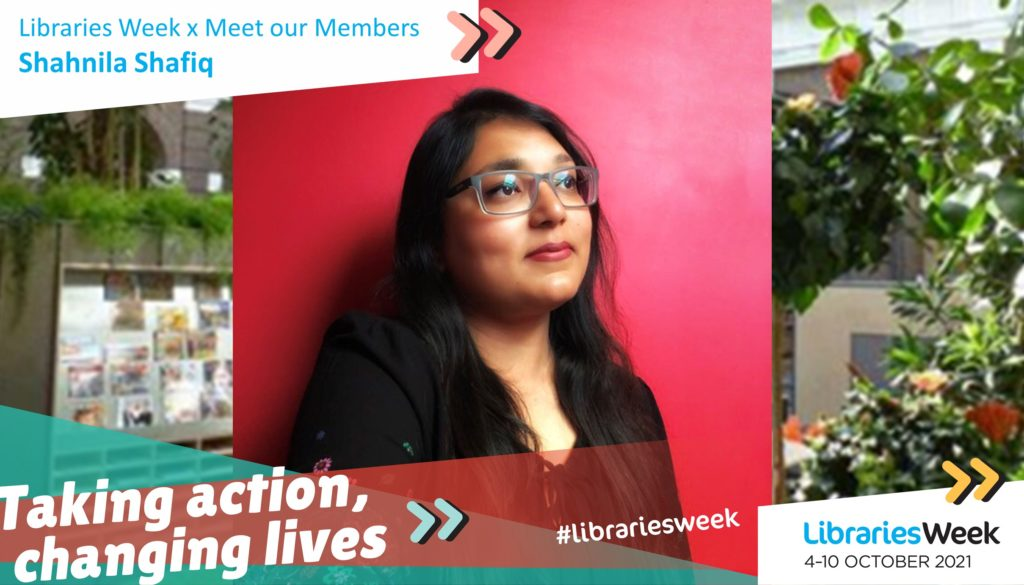 The Libraries Week graphic with white text reading 'Taking action, changing lives' and a photograph of Shahnila with a library garden background